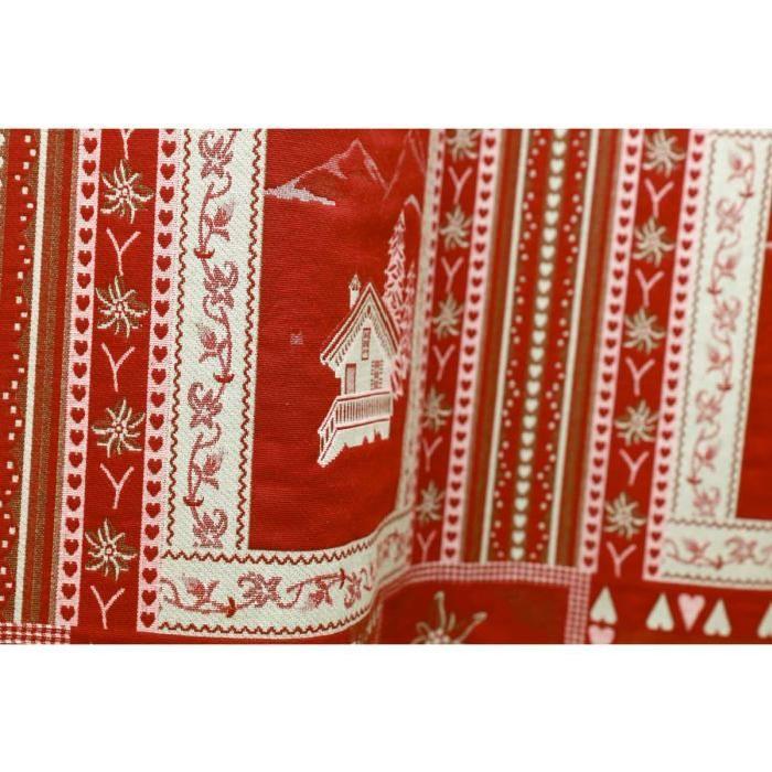 Rideau à ?illets style montagne Vanoise rouge Aspin Achat / Vente