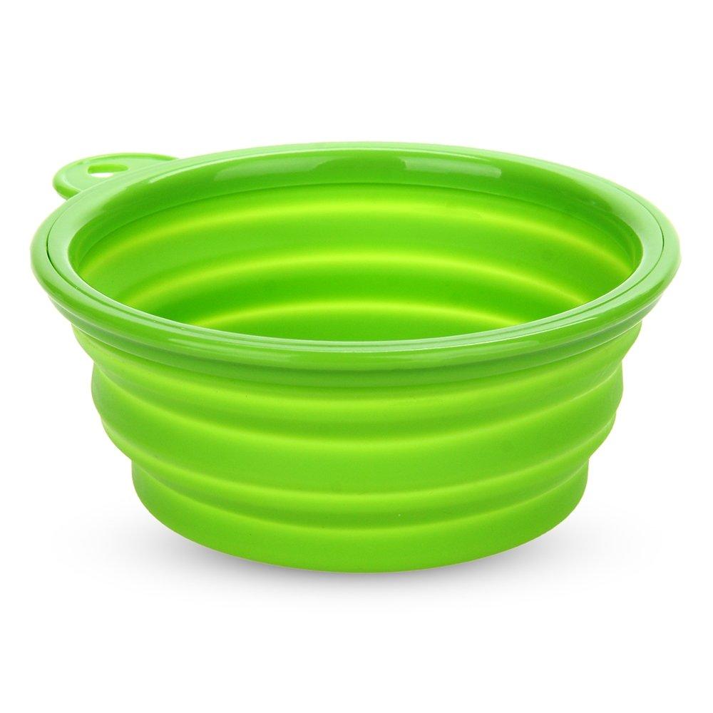 Gamelle Bol Ecuelle Mangeoire Pliable en Silicone Vert pour Chien Chat