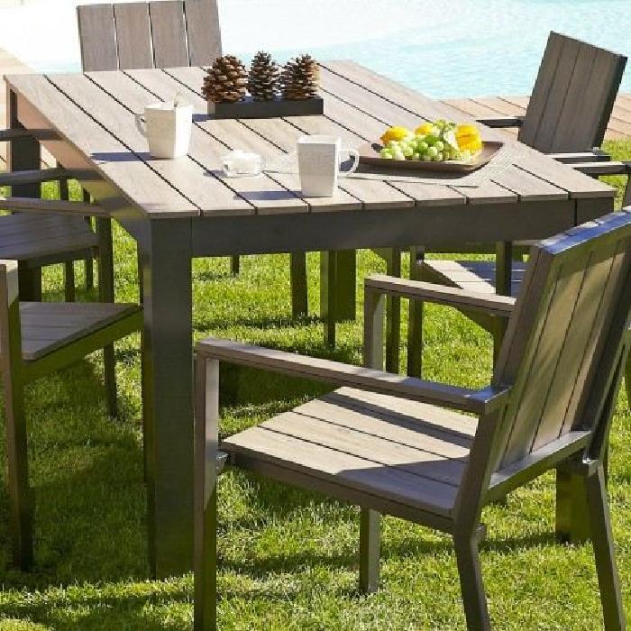 Table aluminium et bois COMPOSITE Achat / Vente table de jardin