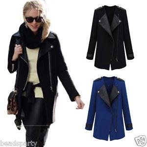 Manteau femme col en cuir