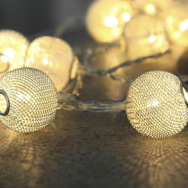 Net ball guirlande 10 boules argent led l1,85m guirlande et objet