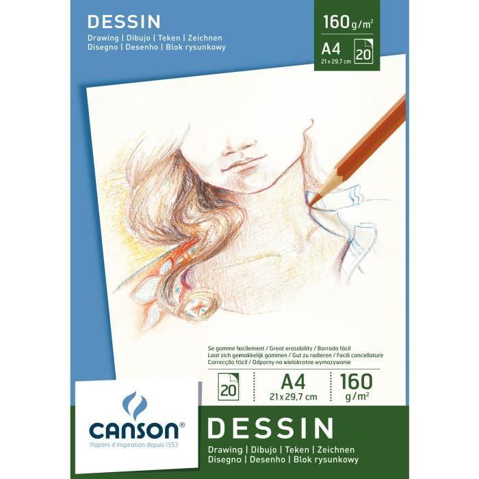 CANSON Bloc 20 Feuilles Dessin A4 160g Blanc Achat / Vente bloc note