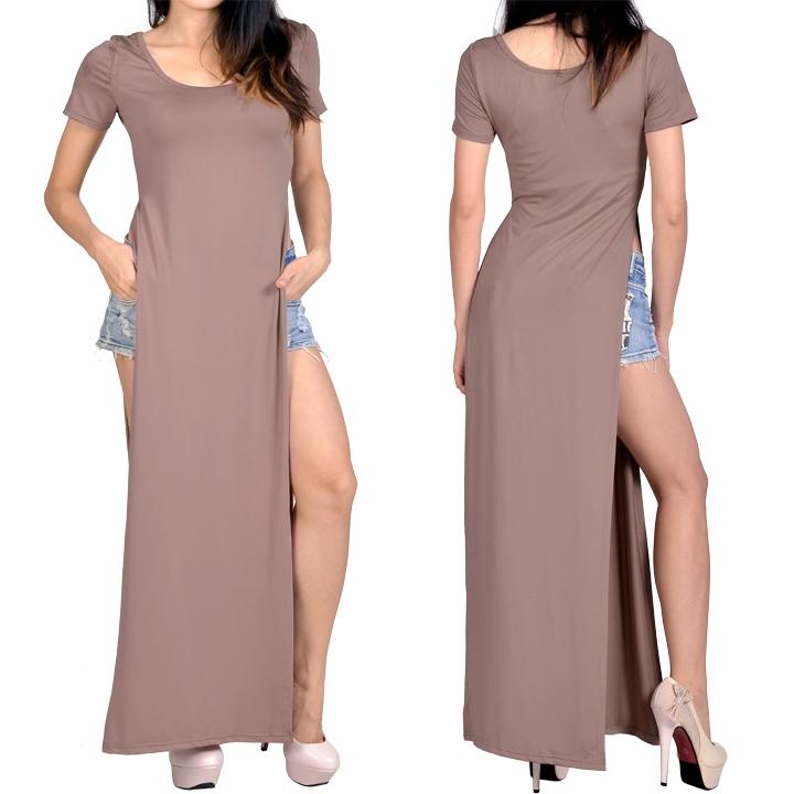 Femme Sexy Maxi Robe Fendue Côté Manche Courte T Shirt Longue Jupe