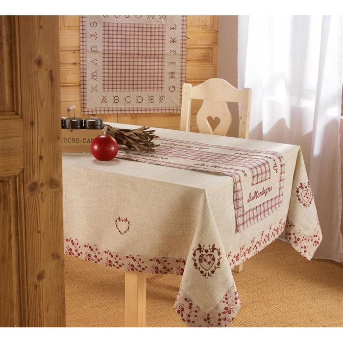 Nappe de table 150x240cm C?UR LIN Achat / Vente nappe de table