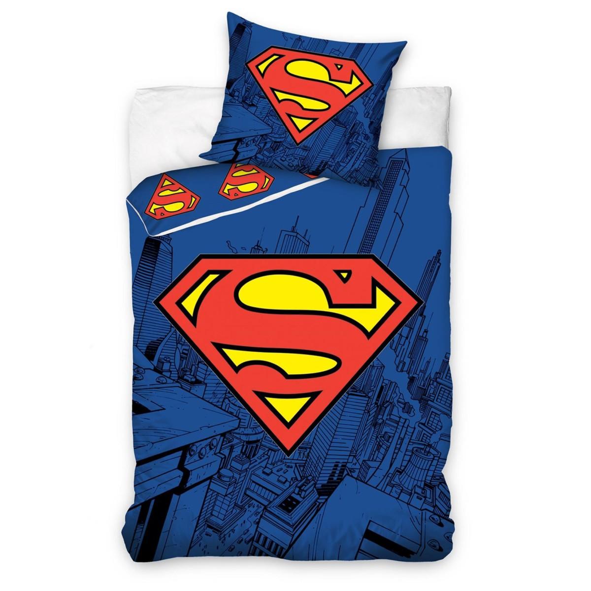 SUPERMAN HOUSSE DE COUETTE ET TAIE ENSEMBLES CHAMBRE LITERIE ENFANTS