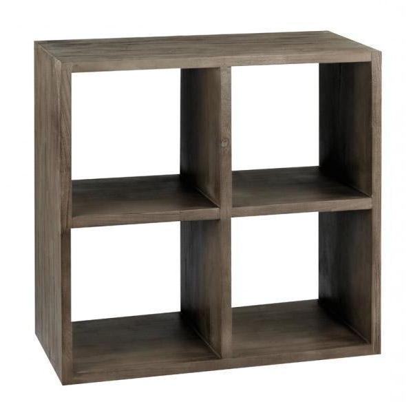 etagere cube en teck gris