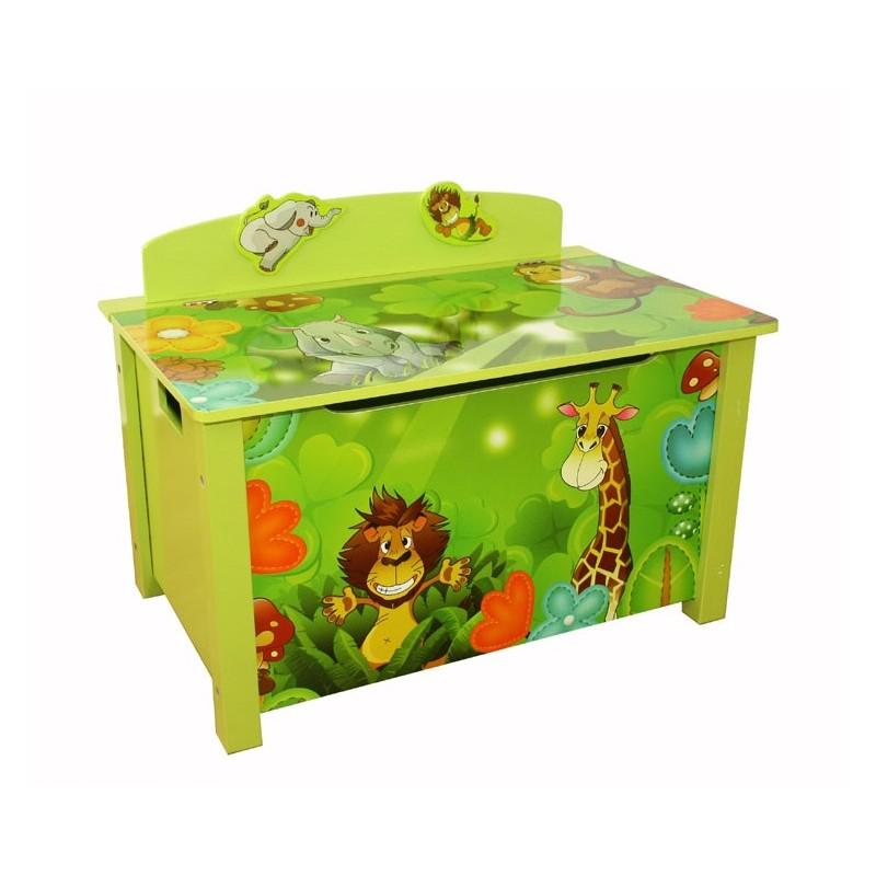 coffre a jouets en bois meuble chambre enfant motif jungle 71x52x46 cm