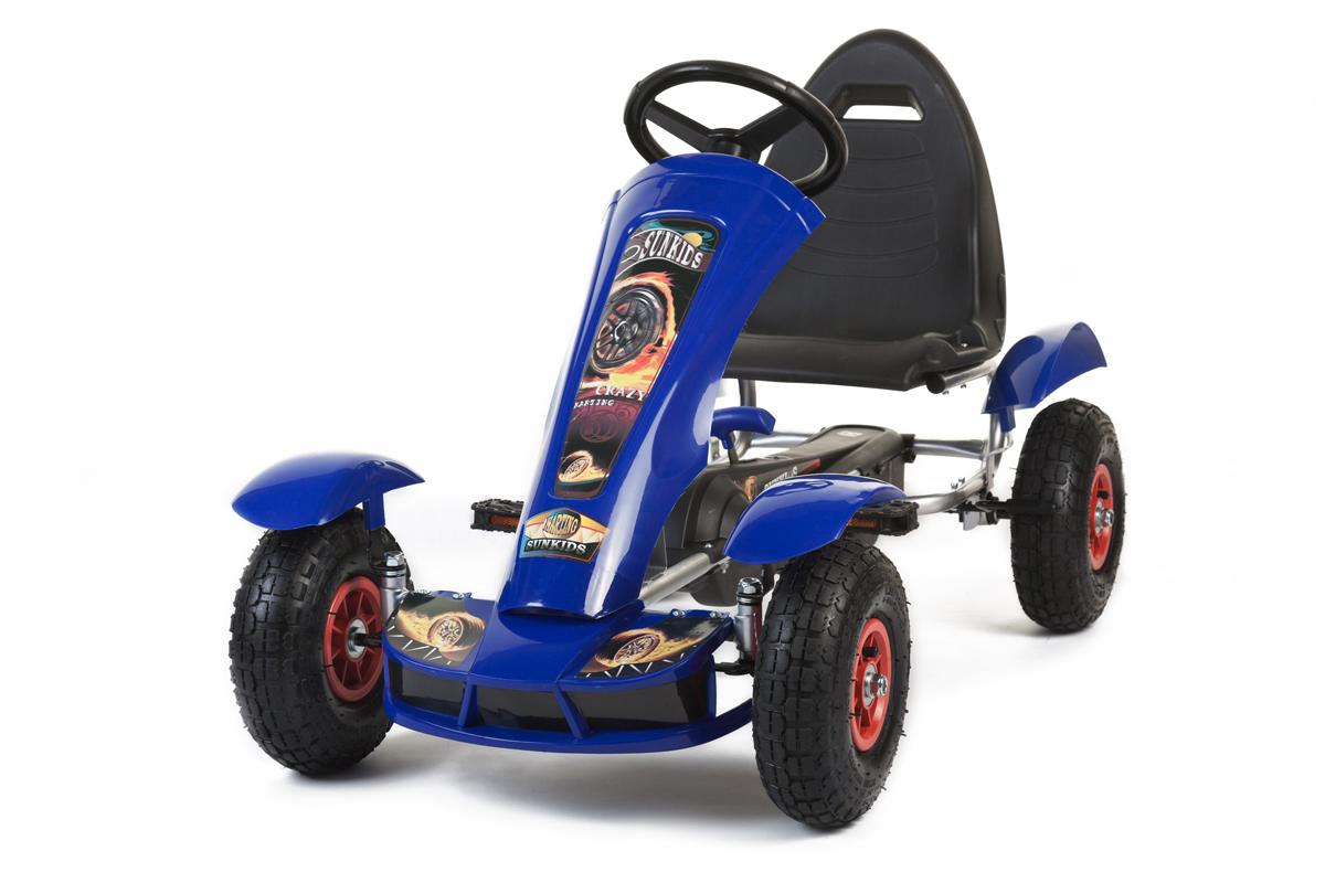 Go Kart à Pédales Avec Roues En Caoutchouc (Bleu) Gokart Voiture À