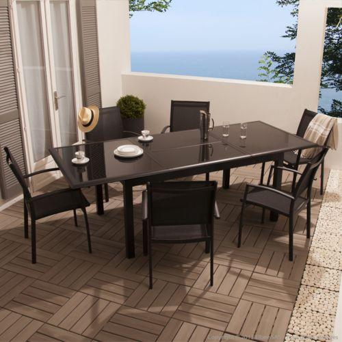 Squareline Salon de jardin Aluminium 6 places : table 160/240 cm + 6
