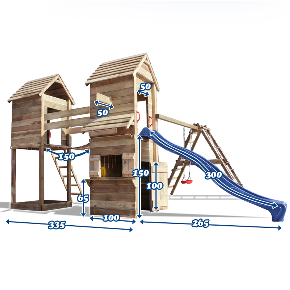 sur Aire de jeux XXL cabane en bois toboggan balancoire rampe pont