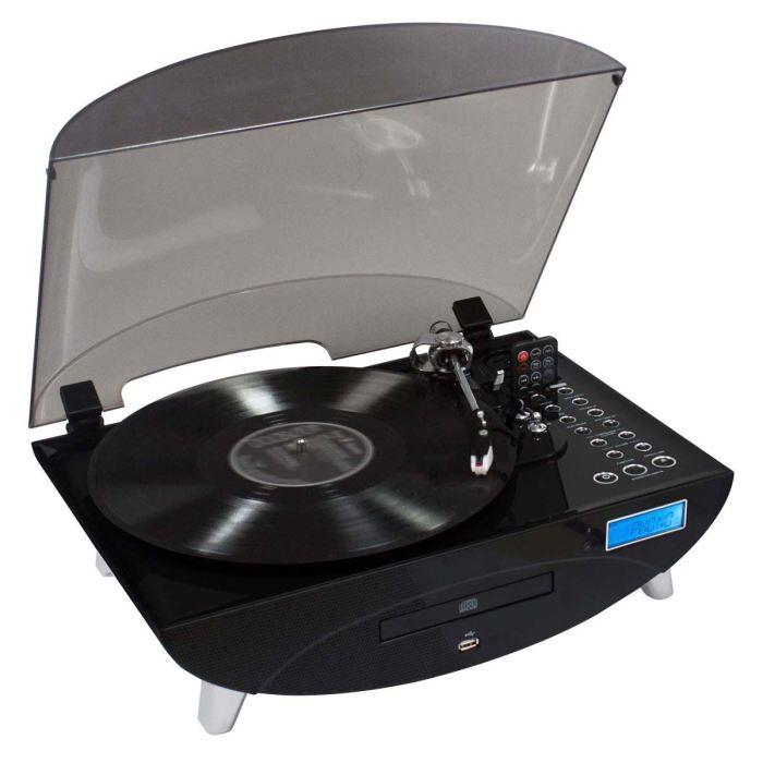 TOURNE DISQUES RADIO CD ENCODEUR USB NOIR Tourne disque 3 vitesses
