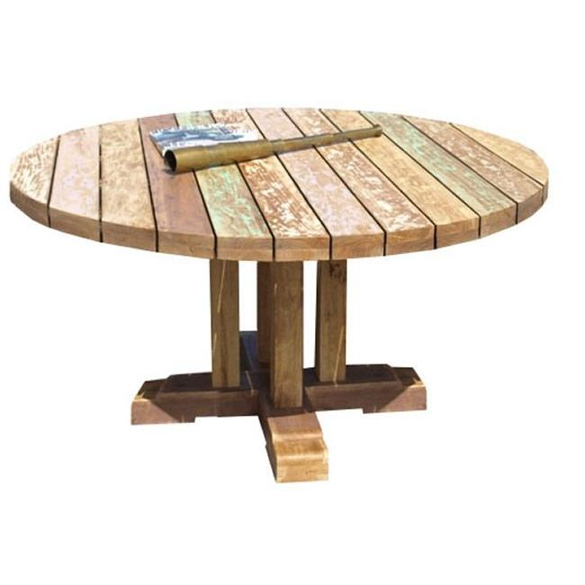 Table de jardin ronde en teck topiwall - Table en teck jardin ...