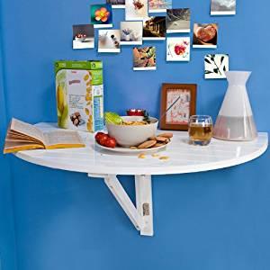 bois, Table de cuisine pliable, Table enfant demi ronde, Blanc