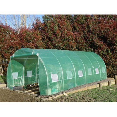 Destockoutils Serre tunnel de jardin Premium 2 portes et tubes 32mm