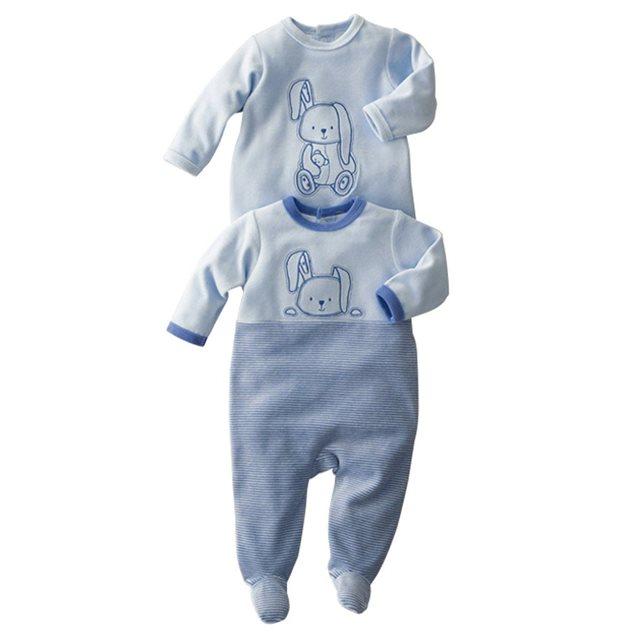 Pyjama à pieds velours (lot de 2) 0 mois 3 ans R Essentiel | La