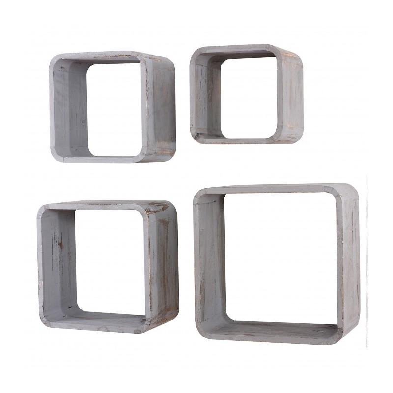 4x Étagères Murales Étagère Cube Gris Vintage En Bois Eta04018