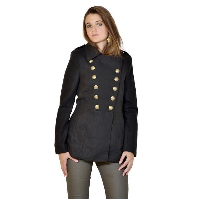 Caban femme B.YOUNG noir court Noir Achat / Vente manteau caban