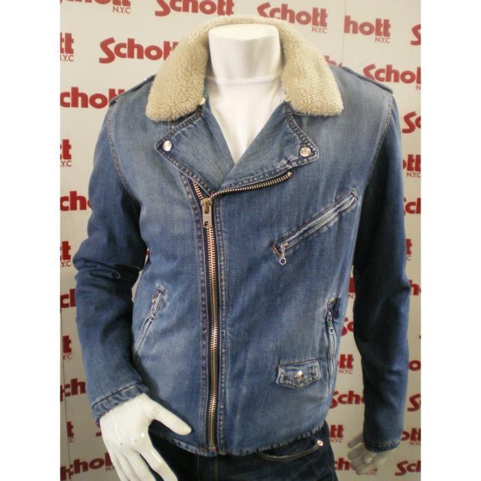 Blouson Jeans Perfecto Homme SCHOTT JKTJOHNX2 Bleu Bleu Achat