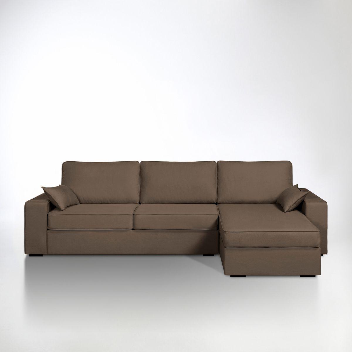 image Canapé d'angle lit, couchage express, coton & lin, La Redoute