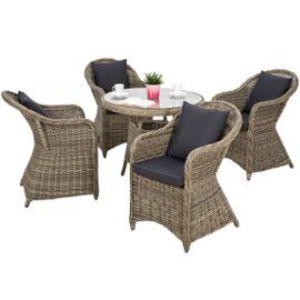 Salon De Jardin Agathe 4 Chaises Fauteuils, 1 Table Ronde Résine