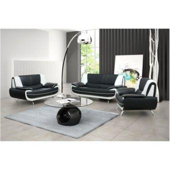 Meublesline Ensemble canapé et fauteuil 3+2+1 Meros noir et blanc