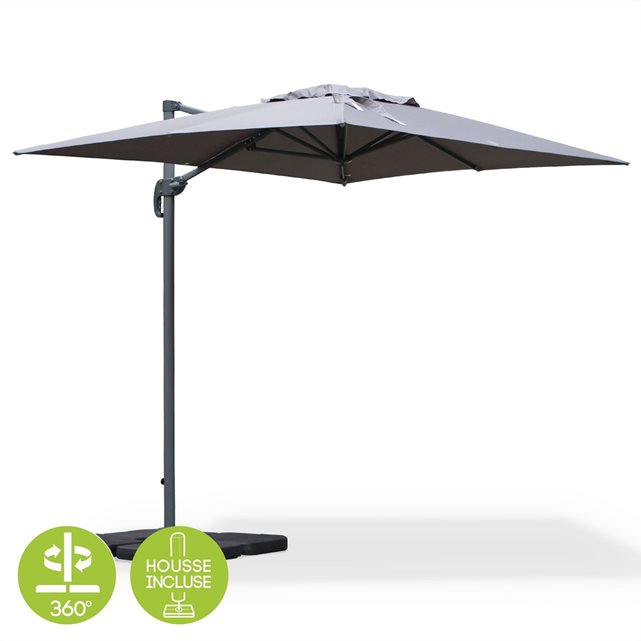 Parasol inclinable et rotatif topiwall - Parasol deporte rectangulaire 4x3 ...