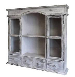 ancienne étagère armoire vitrine a tiroir murale en bois 67x71x15cm