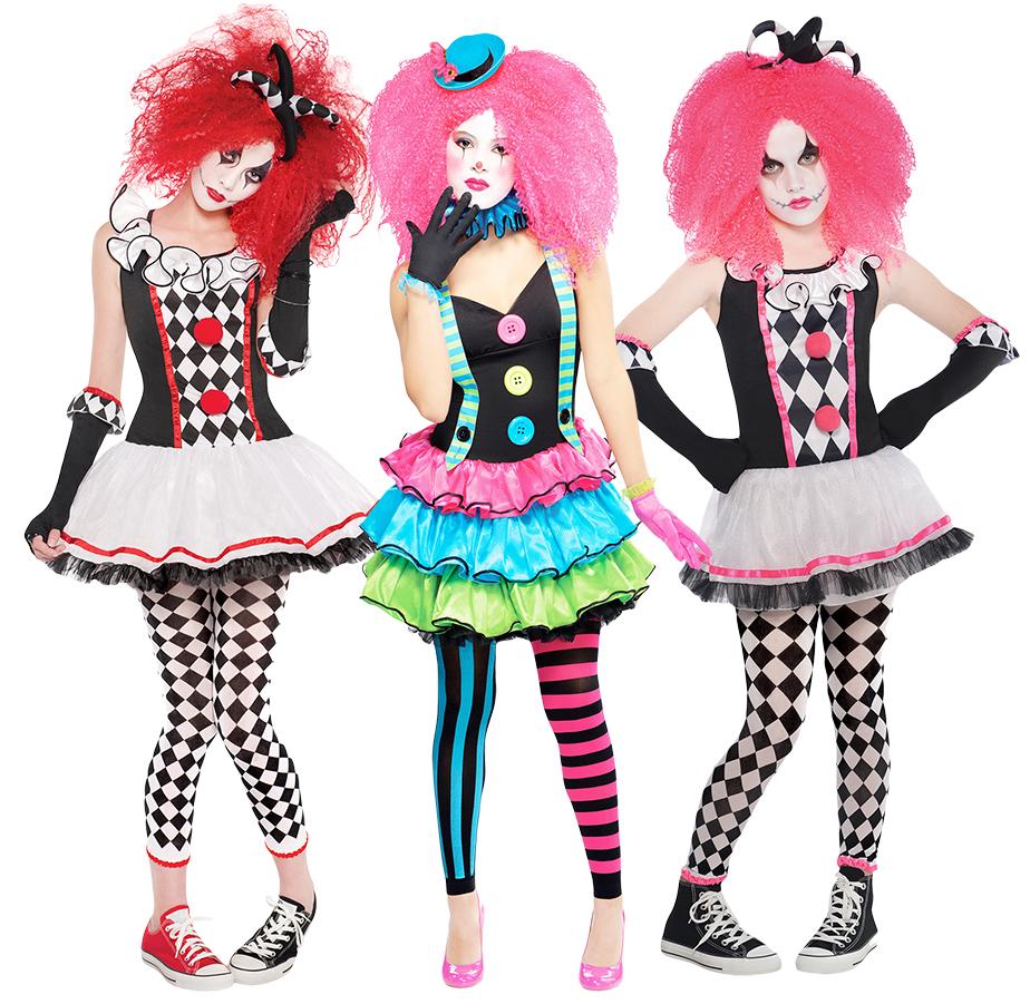 Harlequin Clowns + Facepaint Girls Halloween Fancy Dress Jester Teens