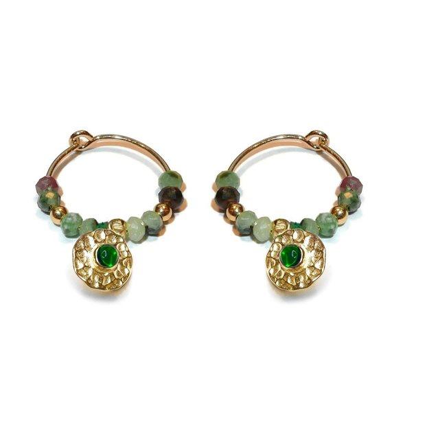 Boucles d'oreilles créoles bollywood vert Gag & Lou