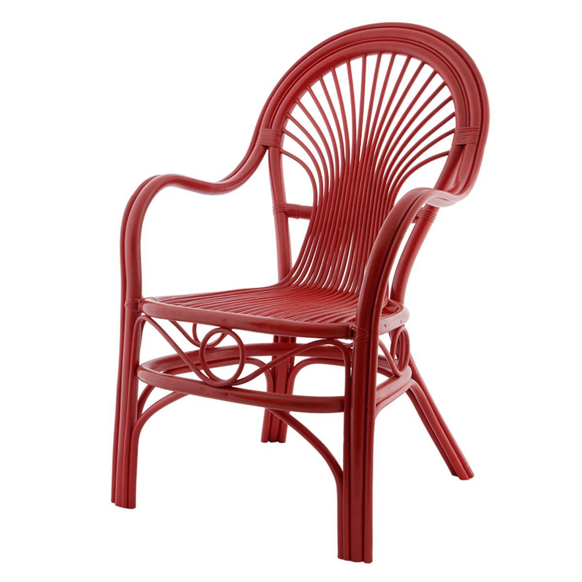 Fauteuil roméo rouge rotin fauteuil de détente Rotin Design | La