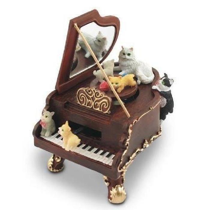 Boite a musique CHATS SUR PIANO, avec musique e? Achat / Vente