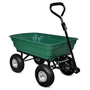 Brouette verte Chariot de jardin avec fonction d'inclinaison, essieu