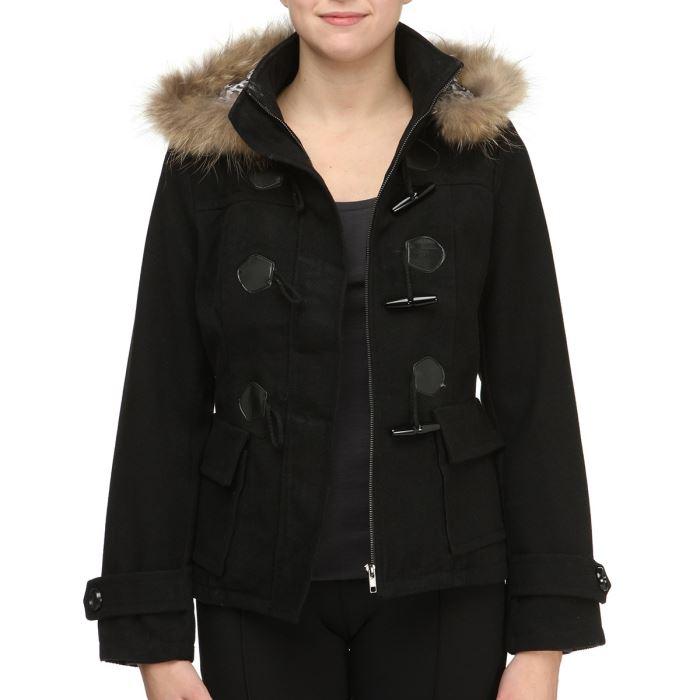 COMPANY 2ELLES Manteau Femme Noir Achat / Vente manteau caban