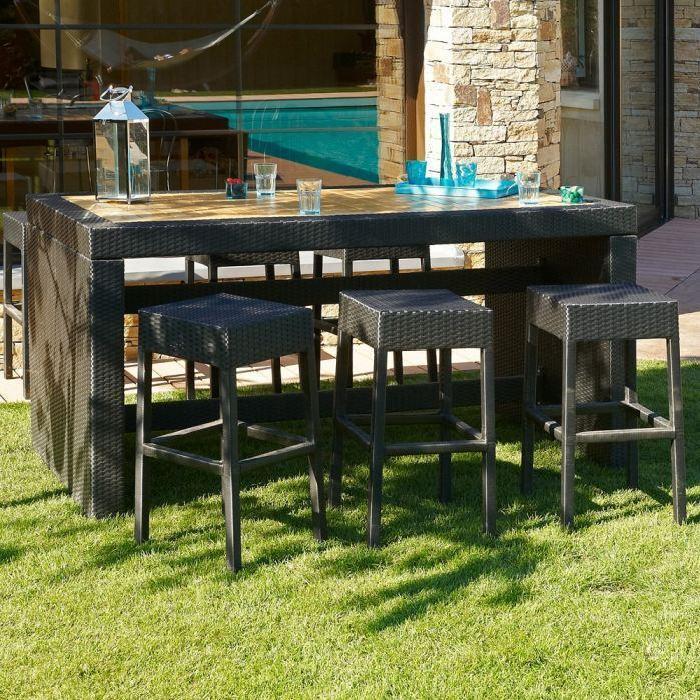 CUBA Ensemble table bar de jardin et 6 tabourets résine tressée