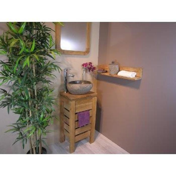 Petit Meuble salle de bain WC ZEN en teck 40cm Achat / Vente meuble