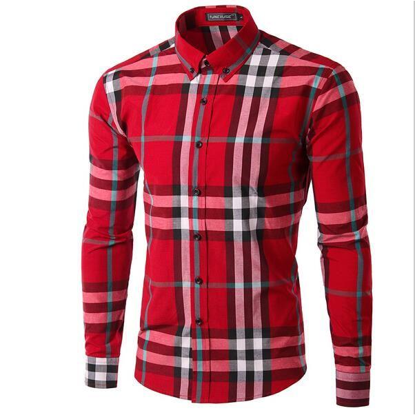 casual chemise cravate a carreaux pour homme rouge