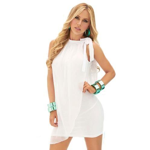 Robe courte avec voile «Maelie» Blanc Achat / Vente robe