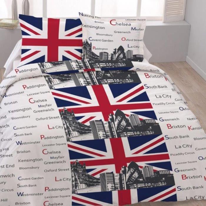 Housse de couette «London towers» 200x200cm pour lit deux personnes