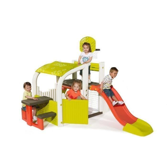 SMOBY Fun Center Aire Multijeux Toboggan Basket Foot Escalade Cabane