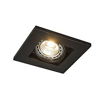 QAZQA Design, Moderne Spot à encastrer Qure 1 GU10 noir, Aluminium