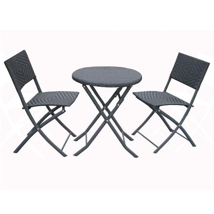 avec deux chaises Achat / Vente salon de jardin Ensemble table ronde