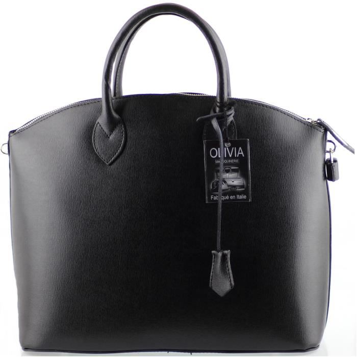 grand sac a main en cuir de vachette noir 1294