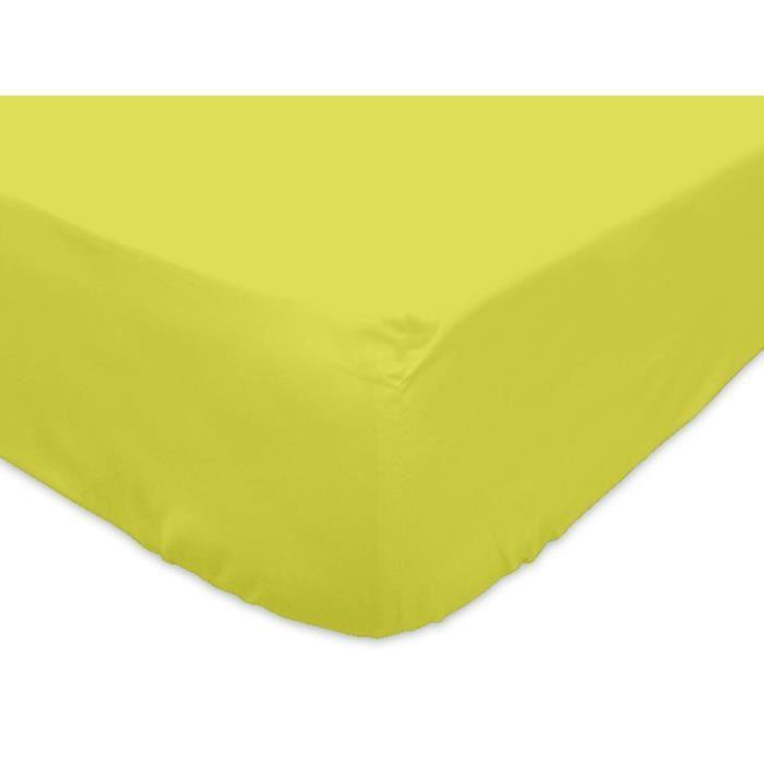 Drap housse 90×200 cm en coton SO vert Drap housse 90×200 cm en