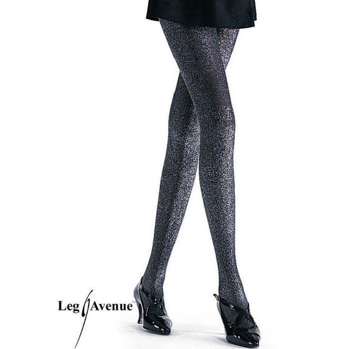 Collant Opaque en Lurex Pailleté Leg Avenue Noir/Rouge Collant en