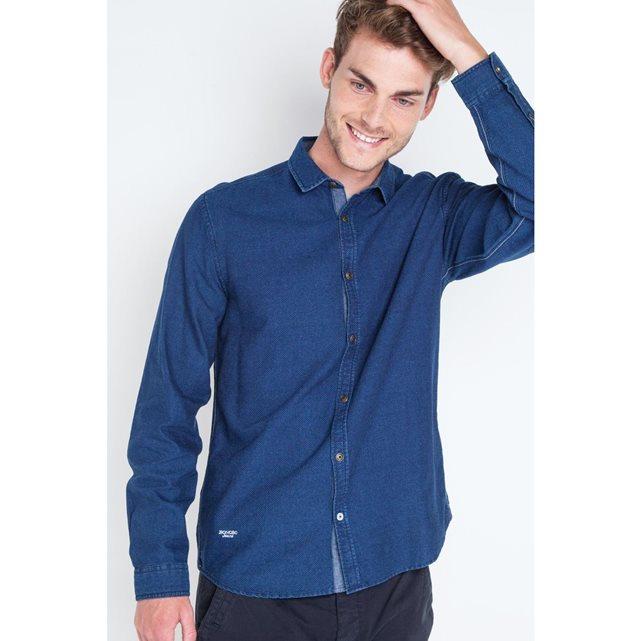 Chemise homme jean manches longues bleu indigo Bonobo