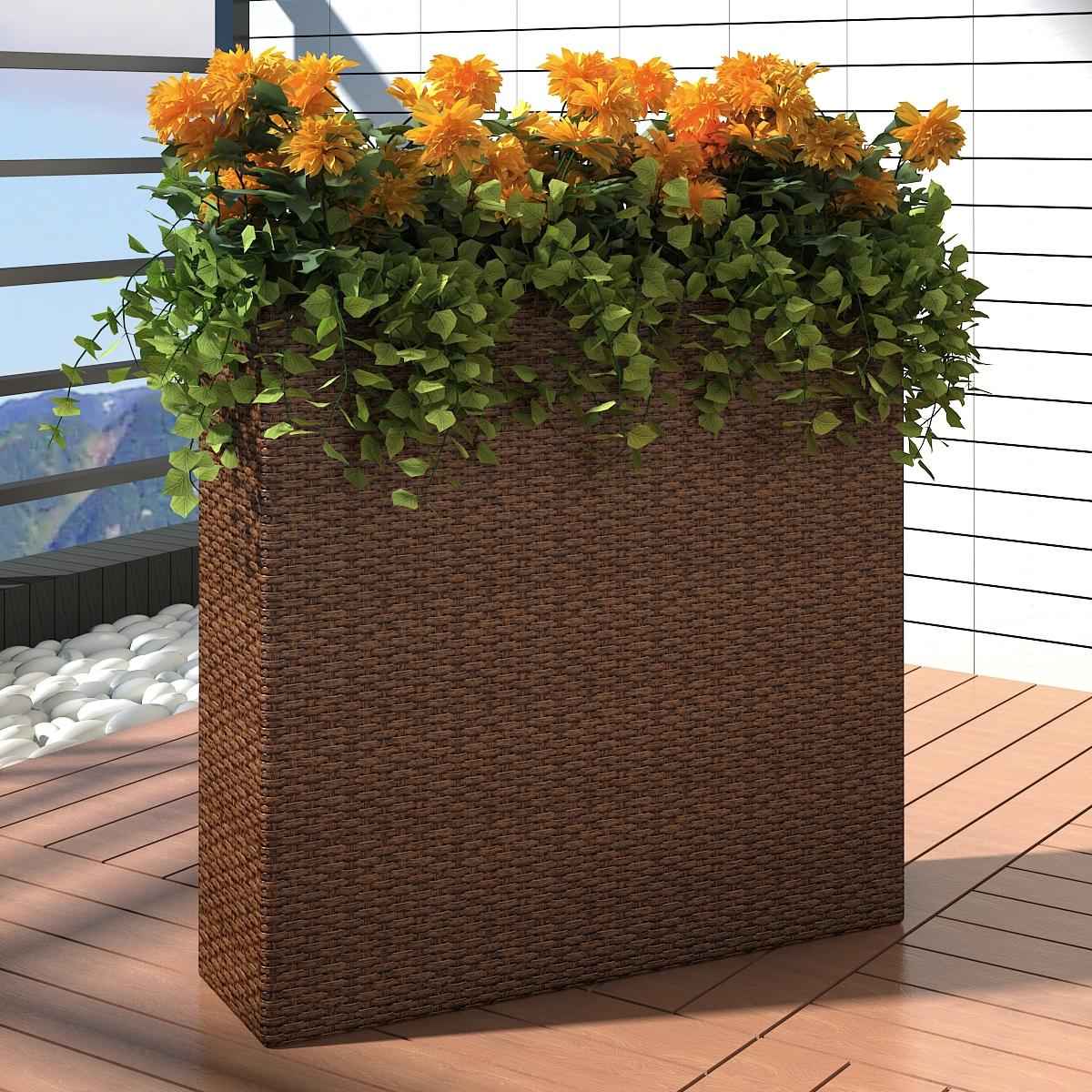 Bacs Pots de Fleurs en Rotin Cache pot pour jardin Bac a fleurs