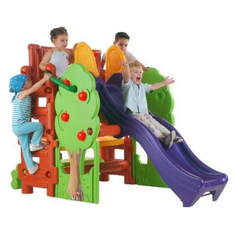 FEBER Maison des bois aire de jeu avec toboggan à prix : pas