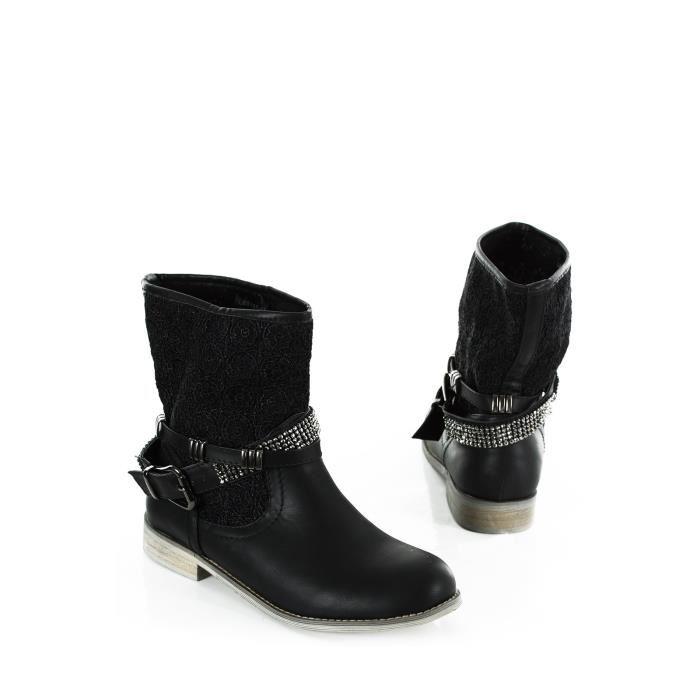 Femme A Bi Strass Talon De bottines 35cm Noires Boots 57Rqd45