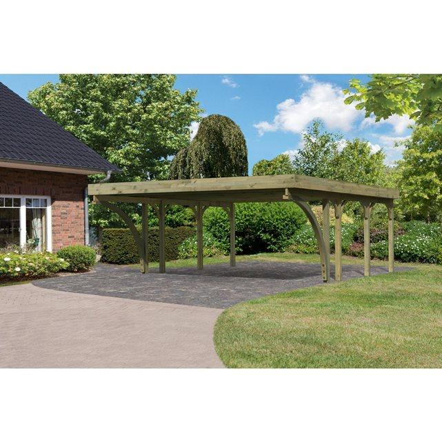 Carport 2 places bois autoclave 24.08 m2 avec toit acier galvanisé