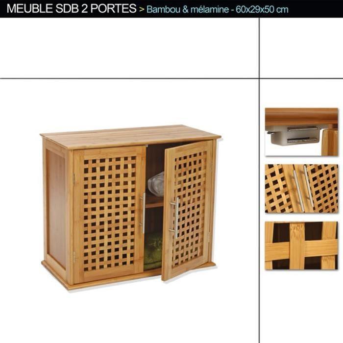 Meuble haut de salle de bain de 2 portes en bambou, H50 x P29 x L60 cm